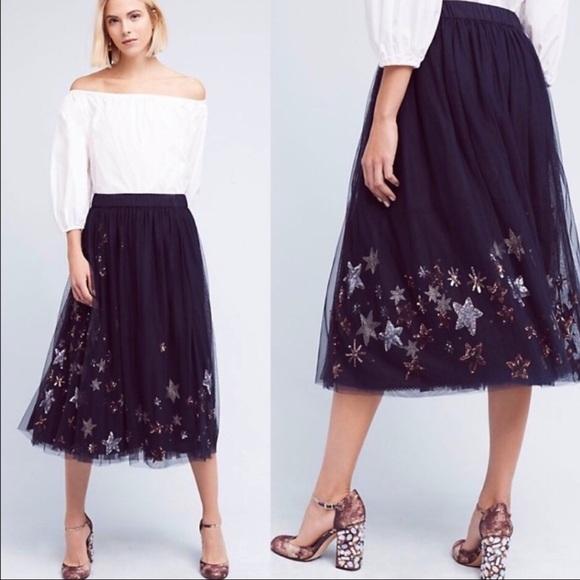Anthropologie Dresses & Skirts - Moulinette Soeurs Navy Metallic Lumiere Midi Skirt